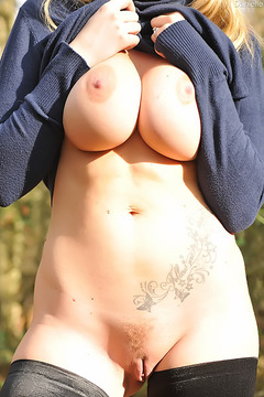 Busty Amateur Milf Posing Naked Outdoors